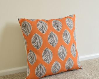"Orange Leaf Pattern Retro/Scandinavian Cotton Linen Cushion Cover 18 x18"""