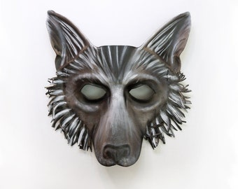 Leather Wolf Mask or Fox Dog Shepherd grey brown black Entirely Handcrafted very lightweight and easy to wear or display