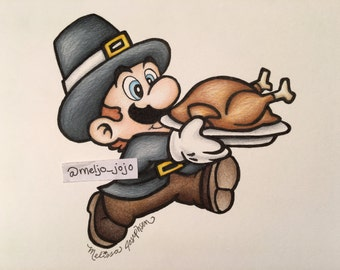 Pilgrim Brother Holiday Print Poster Thanksgiving Artwork Mario (8x10)