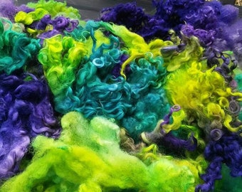 Electric Mermaid dyed fiber: teal, chartreuse, purple