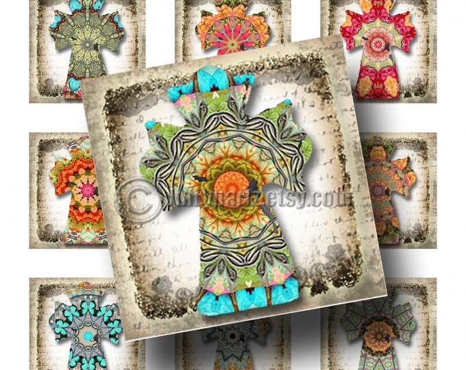 SHABBY FLORAL Cross, 1x1 square images, Printable Digital Images, Cards, Gift Tags, Stickers, Scrabble Tiles, Magnets