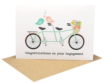 Engagement Greeting Card | Congratulations Card | Tandem Bike with Love Birds Flowers | Wedding Card | Engagement Card Engagement | ENG026