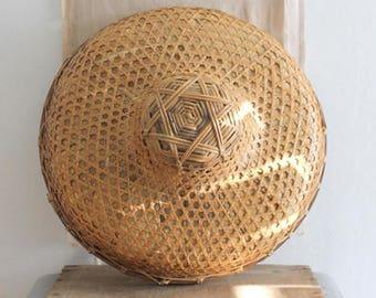 Vintage Asian Bamboo Hat, Wall Decor