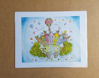 "11""x 14"" Print of Bristol's Clifton Suspension Bridge and Balloons"