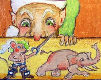 original art  aceo drawing elf watching swashbuckling mouse chase elephant