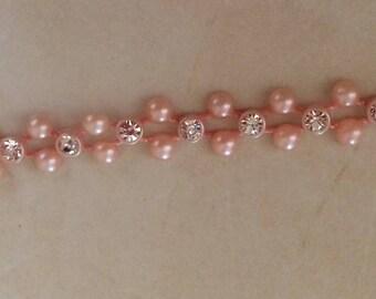 Ribbon and Pearl Pink crystal powder 1 cm width
