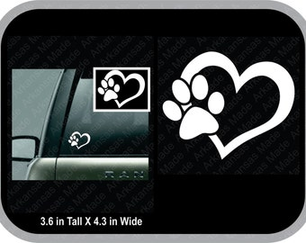 Love dog paw cat paw truck decal car decal