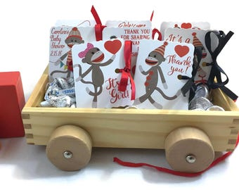 Sock Monkey Birthday Party Favors | Monkey Favor Boxes | Boy Girl Baby Shower | Mini Book Boxes MatchBook | Personalized Customized 24