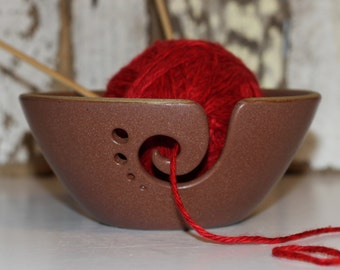 Hazelnut Ceramic Yarn Bowl, Yarn Bowl, Knitting Bowl, Crochet Bowl, Yarn Bowl, Ready to Ship