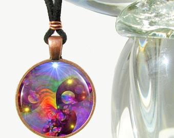 "Abstract Wearable Art Necklace, Rainbow Chakra Pendant, Reiki Jewelry ""Chakra World"""