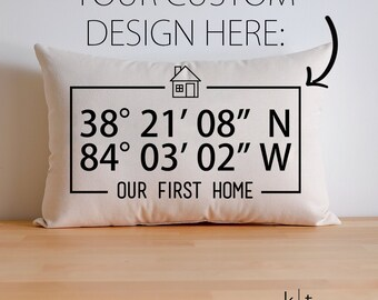 Personalized Map Coordinates Cotton Canvas Pillow - New Home Gift - First Home Gift - Housewarming Gift - Home Closing Gift - Moving Away