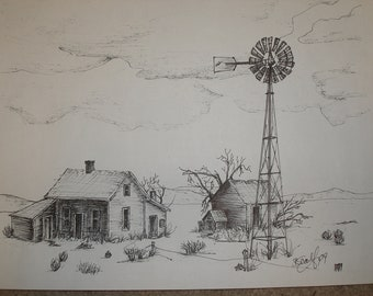 """Print, Pen and Ink Drawing,  The Homestead 81/2"""" X 11"""""""