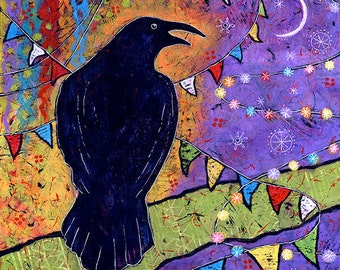 Colorful Print. Whimsical Raven Wall Art. Raven Art Print. Raven Canvas Print. Laughing with the Moon Print. Crow Print. Black Bird Art.