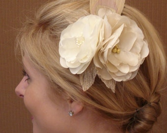 Double Silk Flower Fascinator in Ivory Champagne and Gold with Champagne Peacock Eye - Ready to Ship