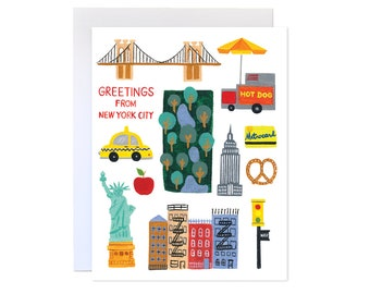 Greetings from New York City // New York Card, NYC Cityscape, Illustrated NYC Greeting Card