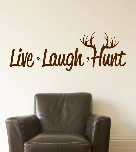 Live Laugh Hunt Wall Decal // Hunting Decor // Deer Antler