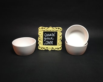 Set of 3 Ceramic Condiment Dishes- hand painted- OOAK decoration-Dipping cups