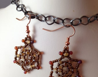 Copper and Pink Beadweave Flower Earrings