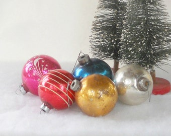 Antique Blown Glass Ornaments, Set of 5, Christmas Ornaments, Holiday Decor, Collectible, Tree Decorations, Set 3