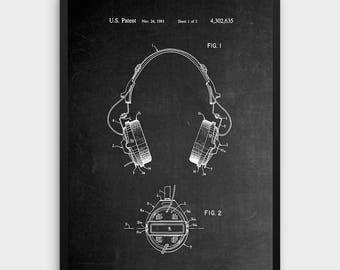 Chalkboard Headphones Patent Print | 1981 Headphone Design, Music Wall Art, Music Gift, Patent Art, Printable Art,INSTANT DOWNLOAD