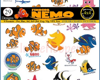DISNEY Finding NEMO Embroidery Designs Pes, Hus, Jef, Dst, Exp, Jef+, Vip, Vp3, Xxx