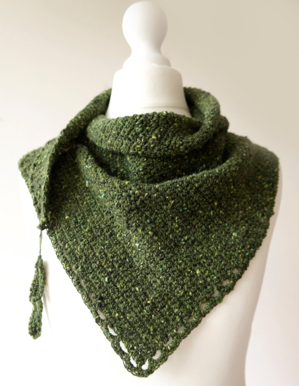 Crochet Shawl, Mossy Green, Scarf Pattern. Asymmetric Shawl, Fall ...