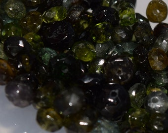 Natural Green Tourmaline Rondelle Beads, 4mm x 2mm -5mm x 3mm, Faceted gemstone beads, semi precious stone beads