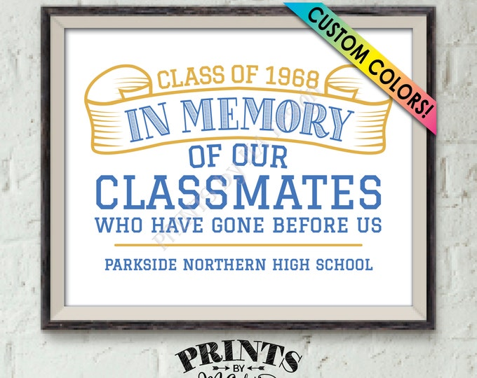 """In Memory Sign for Reunion Memorial, In Memoriam of the Classmates Who Have Gone Before Us, Deceased, PRINTABLE 8x10"""" Classmate Memory Sign"""