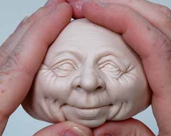 Moldf4 - 3 inch Face, a Jolly Male face mold for Santas, Clowns, Leprechauns, Elves and more by Maureen Carlson