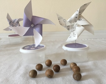 Set of 10 Small Paper Pinwheel Party Favors