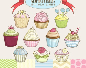 Cupcakes digital graphics set, cupcake clipart pink blue and green, DIY invitations and party, cakes for showers SLS Lines commercial use