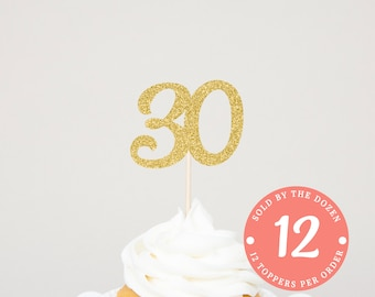 30th Birthday Cupcake Toppers | 30 Cupcake Toppers | 30th Black Glitter | 30 Black Glitter | 30th Birthday Decoration