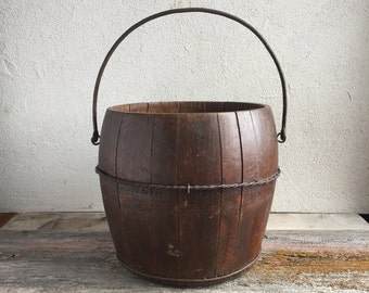 Wooden Bucket, Vintage Farm Bucket, Wood Pail, Flower Planter