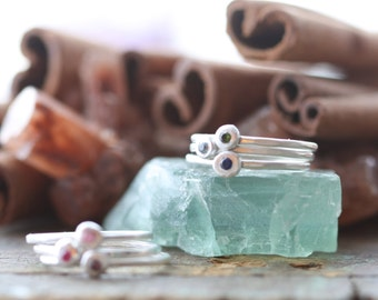 gem stone pebble skinny stacking rings... sterling silver and flush set gemstone stackable rings... gypsy set stones