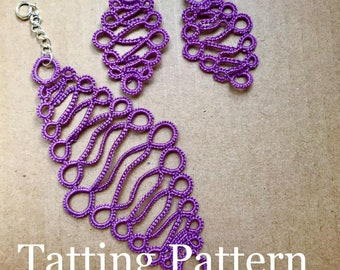 "PDF Tatting Pattern - ""Haydn"" Bracelet and Earrings"