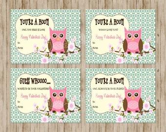 Owl Valentines Day Card - Children's Printable