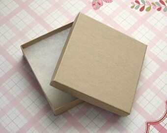 10 Kraft Jewelry Boxes Cotton Filled High Quality 3.5 x 3.5 x 7/8 inch - Large
