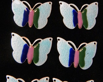 Vintage Guilloche Butterfly Light Blue Enamel Connector with Stripes - Set of 7