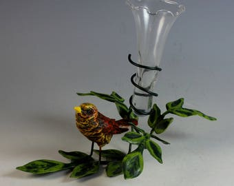 Enameled Bird on a Branch Bud Vase