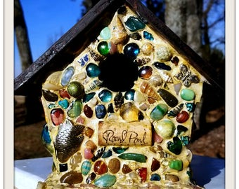 Mosaic birdhouse made of sea glass, shells, and tumbled stone. Coastal style mosaic. Garden art Original gift for Mom