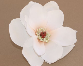 Artificial magnolia etsy white magnolia with peach center artificial flowers silk flowers mightylinksfo