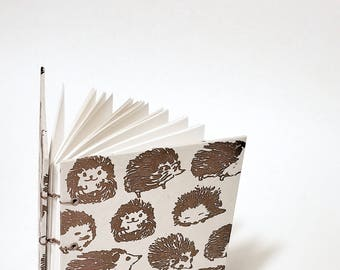 hedgehog coptic bound writing journal - hedgehog notebook - porcupine journal - porcupine notebook - cute woodland creatures journal