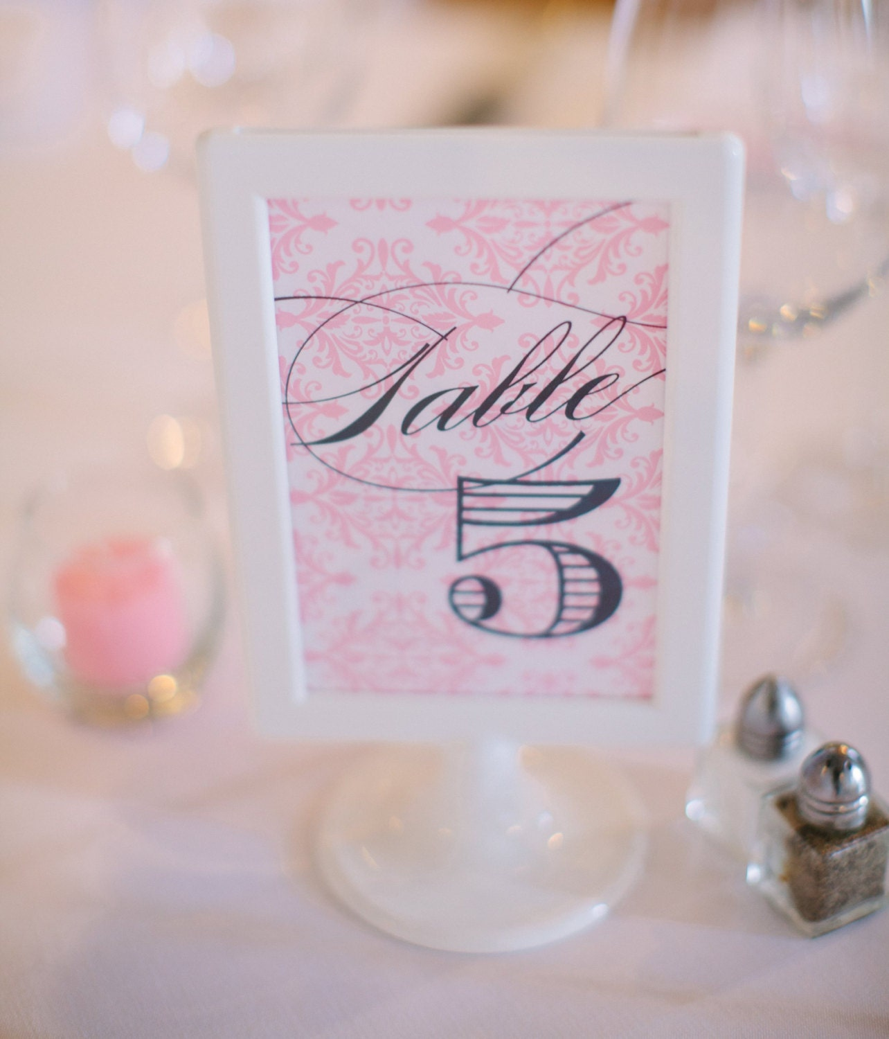 Damask Navy & Pink Wedding Table Numbers 1 through 10