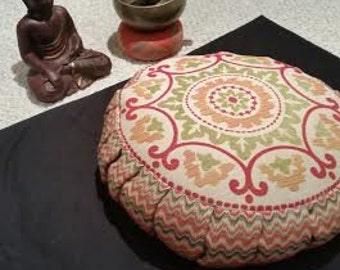 Meditation Cushion-Orange and Green Mandala with Chevron sides Zafu