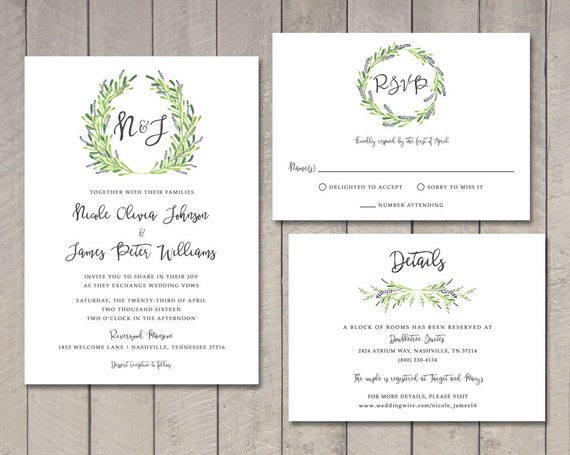 Rsvp To Wedding Invitation Wording: Laurel Wedding Invitation RSVP Details Card Printable By
