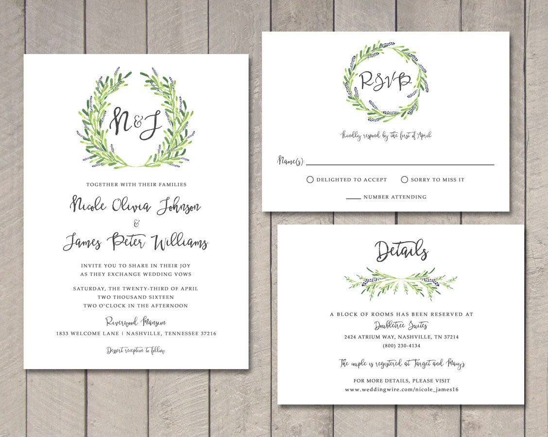 Wedding Invitations With Rsvp Cards Included: Laurel Wedding Invitation RSVP Details Card Printable By
