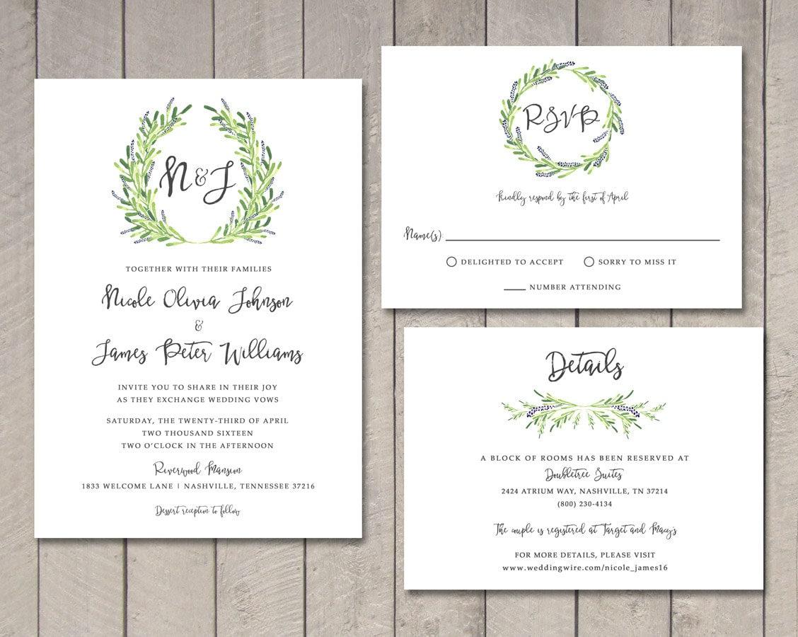 Wedding Invitation Rsvp Card: Laurel Wedding Invitation RSVP Details Card Printable By
