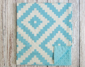 Sale!!! Cream and Blue Aztec Baby Blanket, Minky Baby Blanket, Blue Baby Blanket