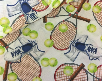 Tennis fabric  - tennis racquet - tennis - fabric  - material - sewing -supply notion - bty - 1yard