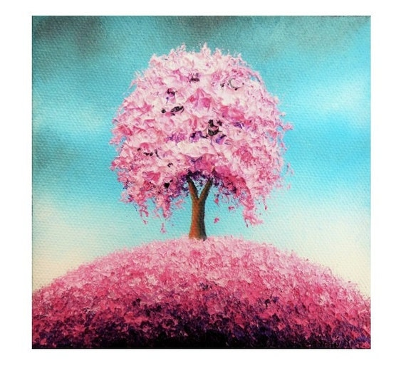Contemporary Art Print Pink Tree Art Print Cherry Blossom